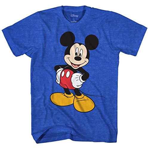 Disney Mickey Mouse Men's Mickey Wash Short Sleeve T-Shirt, Royal Blue Heather, Large