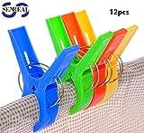 SENREAL Durable Large Beach Towel Clips Plastic Clothespins Clothes Pegs Pins Clothes Hanger Clamp 4 Colors Mixed (12pcs)