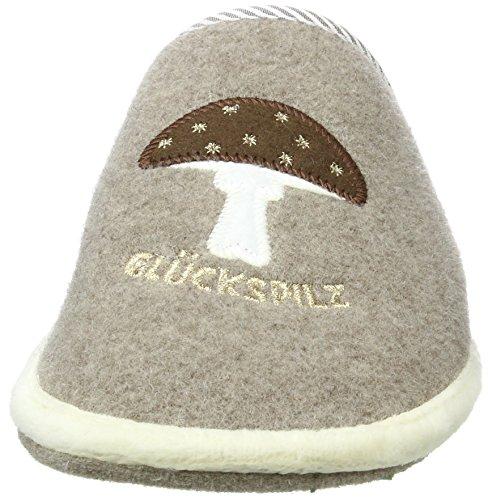 Adelheid Damen Glückspilz Filzpantoffel Pantoffeln Beige (Taupe 366)
