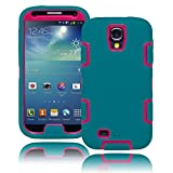 Bastex Heavy Duty Hybrid Teal/Hot Pink Tron Case Cover for Samsung Galaxy S4 i9500