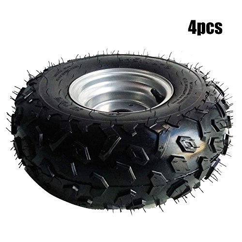- 4 Pcs Go-kart ATV Tire with Wheel Assembly 145/70-6 Rim Go kart Mini Bike