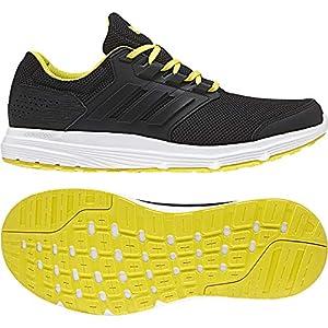 adidas Men Running Shoes Galaxy 4 Training Cloudfoam Trainers Black/Yellow