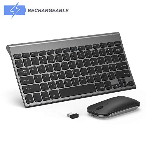 Wireless Keyboard and Mouse Combo, Seenda Low Profile Small Rechargeable Wireless Keyboard and Mouse for Windows Devices, Space Gray (Best Wireless Keyboard And Mouse For Mac)