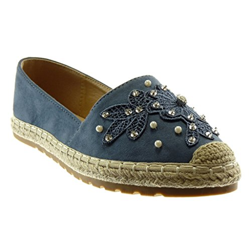 Espadrille Chaussure Cm Brodé Slip Mode Talon Plat Diamant Angkorly Bleu Femme Strass 2 on Perle OZEqqw