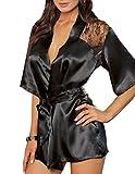 Silk Lace Kimono Robe,Women's Sexy Night Gown Bath Lingerie Dress Sleepwear(Black,M)