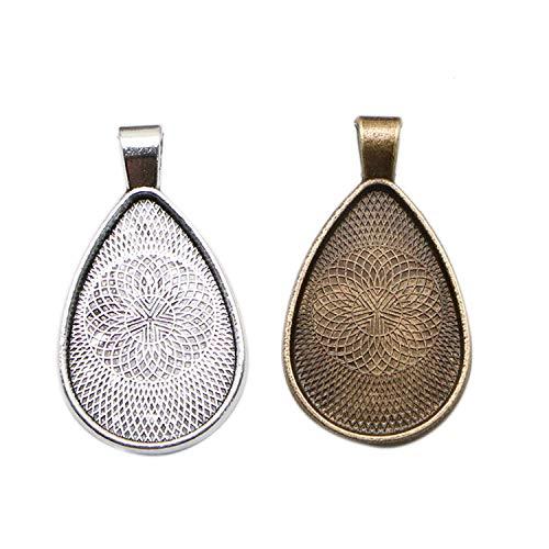 JETEHO 24 pcs Blanks Teardrop Bezels Pendant Trays Teardrop Cabochon Settings for Jewelry Making Photo Resin 20X30mm