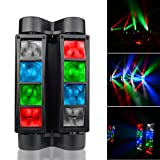 LED Spider DJ lights,Mini RGBW moving Head Effect Stage Light Automated Sound Activated for Disco Wedding Birthday Party Lighting 2018 Latest Update