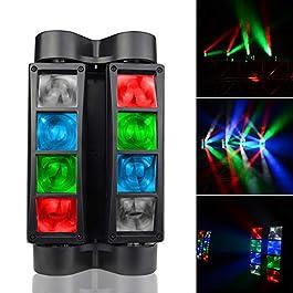 SevenStars Moving Head DJ Light, 8 Beams Spider LED Stage Light, RGBW 4 in 1 Spotlighting, Master-slave/DMX/Sound/Auto…