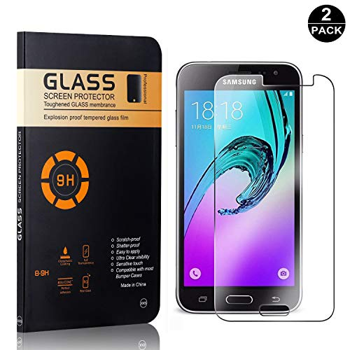 Galaxy J1 2016 Tempered Glass Screen Protector, UNEXTATI Premium HD Clear Anti Scratch Tempered Glass Film for Samsung Galaxy J1 2016 (2 Pack)