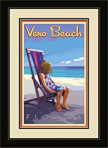 Northwest Art Mall JK-5754 FGDM GBC Vero Beach Florida Girl Beach Chair Framed Wall Art by Artist Joanne Kollman, 16 x - Florida Mall Vero Beach