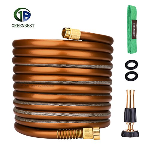 Greenbest Garden/Farm/Water Hose, Heavy Duty No Kink w/Premium 3/4 Spray Nozzle for Watering Lawn, Yard, Garden, Car washing, Pet and Home Cleaning (Color Coffee Gold, 25FT) (Hose Premium)