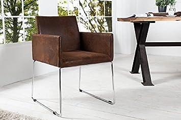Design Esszimmerstuhl dunord design esszimmerstuhl braun vintage stuhl marco microfaser