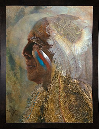 Frame USA Wicasa Wakan (the Holy Man) Framed Print 42.5''x31.5'' by Denton Lund, 42.5x31.5, Affordable Black Medium by Frame USA