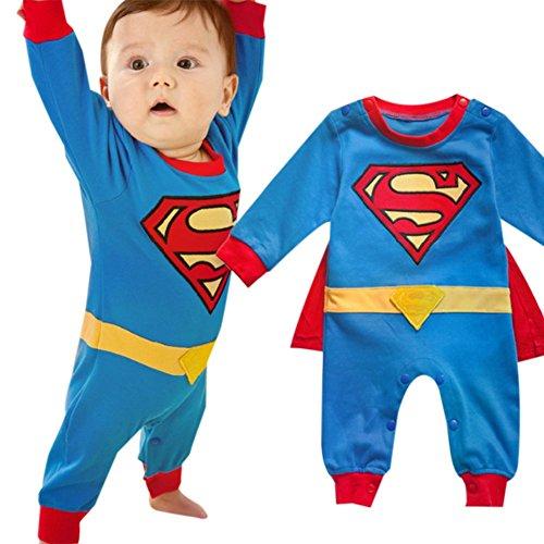 iikids Jumpsuit mit Umhang Kinder Unisex Superman-Form Baumwolle Langarmshirt Overall Baby Mädchen Junge Schlafanzug Strampler Spieler Blau 70