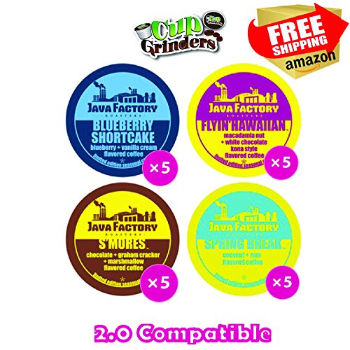 20 Count - Java Factory Seasonal Variety Pack k-cups featuring Blueberry Shortcake, Flyin' Hawaiian, Spring Break and S'mores ()