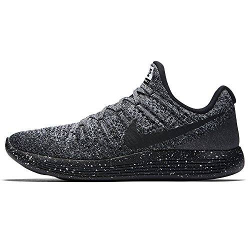 Nike Mens LunarEpic Low Flyknit 2 Running Shoe BLACK/BLACK-WHITE-RACER BLUE 7.5