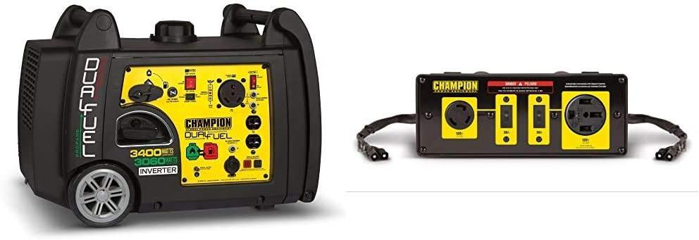 Champion 3400-Watt Dual Fuel RV Ready Portable Inverter Generator with Electric Start & Champion 50-Amp RV Ready Parallel Kit for Linking Two 2800-Watt or Higher Inverter Generators