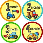 Rocket Bug Monthly Growth Stickers, Construction Trucks Baby