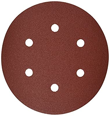 Bosch SR6R122 120 Grit 6-Hole 6-Inch Hook and Loop Sanding Disc for Wood, Red, 25-Pack