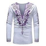 Zainafacai Men's African Print Dashiki Longline Autumn Blouse Tops Luxury Style (White, 3XL)