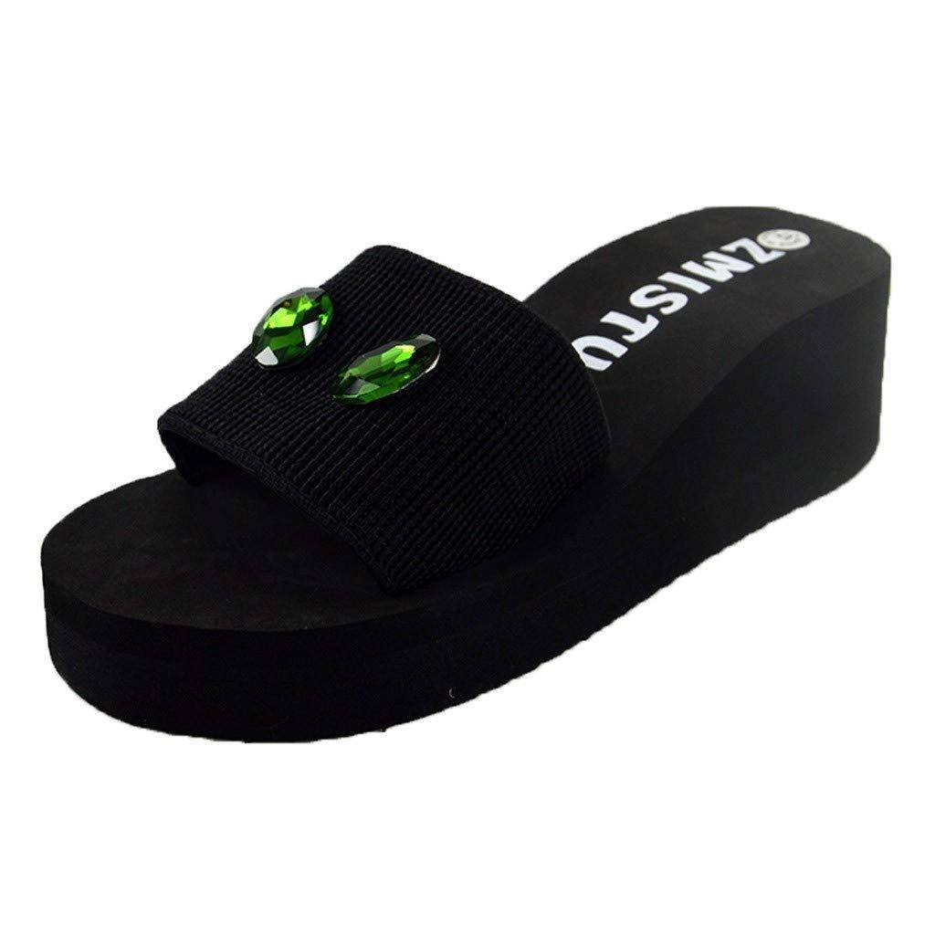 Ladies Slides Bummyo Women Open Toe Sandals Pearl Drill Wedge Platform Slides Home Bathroom Beach Flip Flops Shoes Slippers(5.5M US, Blue)