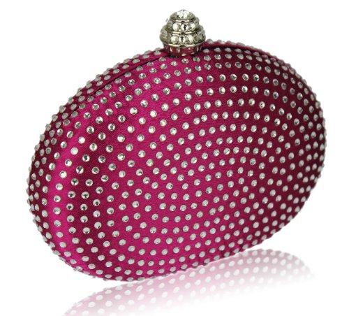 ANNA GRACE - Cartera de mano de Satén para mujer Design 1 - Pink