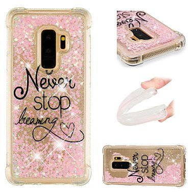 Case Samsung Galaxy S9 / S9 Plus Shockproof/Flowing Liquid/Pattern Back Cover Word/Phrase / Glitter Shine Soft TPU S9 Plus