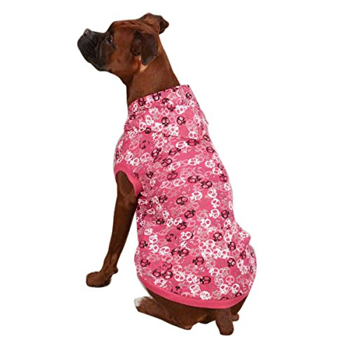 Casual Canine Polyester/Cotton Bone Heads Waffle Dog Hoodie, Medium, 16-Inch, Pink