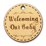Summer-Ray 50 Wooden Round Welcoming Our Baby Engraved Favor Tags Baby Shower Party