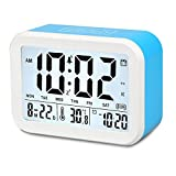Digital Alarm Clock, Xmstar Electronic Talking Alarm Clocks 3 Alarms for Heavy Sleepers,Gift for Kids and Teens , 4.5'' Big Display,Temperature,Noctilucent and 5 Minutes Snooze Function-Blue