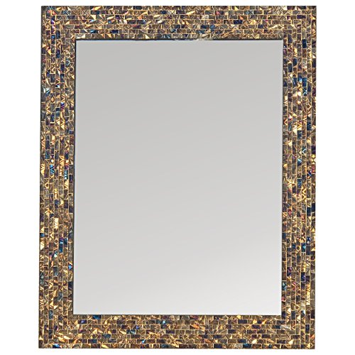 Multi-Colored & Gold, Luxe Mosaic Glass Framed Wall Mirror, Decorative Embossed Mosaic - Royal Mirrors Bathroom