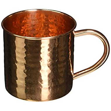 Hammered Copper Mug for Moscow Mules - 16 oz - 100% pure copper - by ALCHEMADE with e-Recipe book included