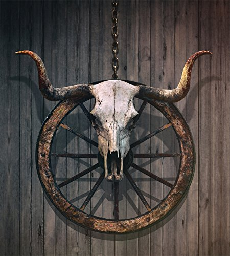 Ambesonne Barn Wood Wagon Wheel Duvet Cover Set Twin Size, Long Horned Bull Skull and Old West Wagon Wheel on Rustic Wall, Decorative 2 Piece Bedding Set with 1 Pillow Sham, Black Brown White by Ambesonne (Image #1)