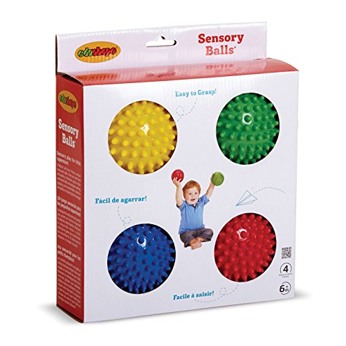Edushape Sensory Balls, 4 Inch, Solid Colors, 4 Ball Set ()