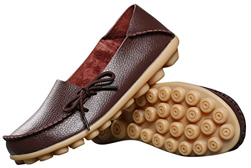 Serene Brown Flat Driving Lace Up Leather Womens Cowhide Dark Loafers Casual avcWraCwq