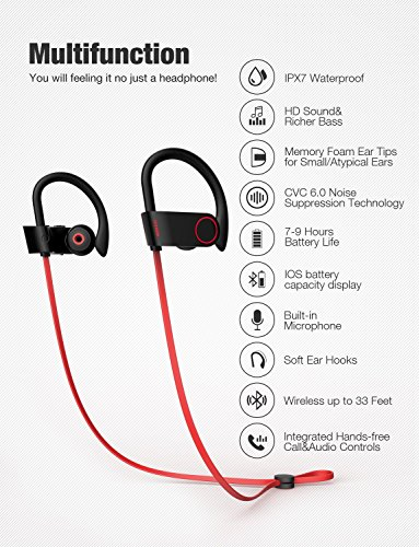 Bluetooth Headphones, Otium Best Wireless Sports Earphones w/Mic IPX7 Waterproof HD Stereo Sweatproof In Ear Earbuds for Gym Running Workout 8 Hour Battery Noise Cancelling Headsets by Otium (Image #2)
