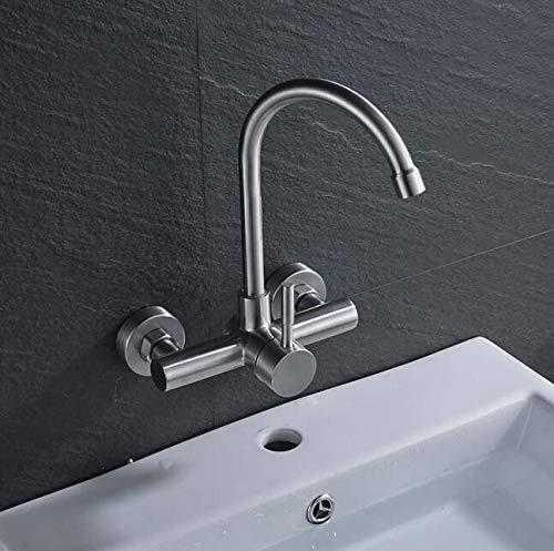 Mkkwp Wandmontiertes Badezimmer Küchenarmatur Wasserhahn Dual Loch Single Level Waschbecken Waschbecken Wasserhahn Gebürstetem Nickel