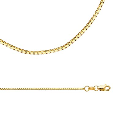 f1b1960713c93 Amazon.com: Box Necklace Solid 14k Yellow Gold Chain Square Links ...