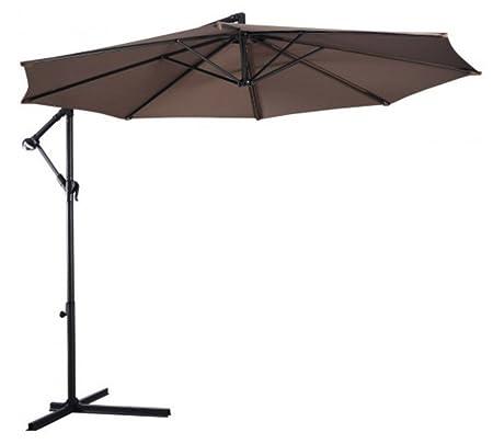10' Hanging Umbrella Patio Sun Shade Offset Outdoor Market w/Cross Base Tan