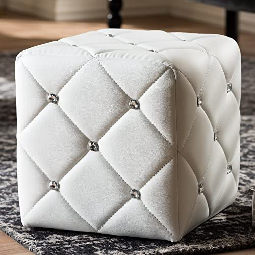 Baxton Studio Stacey Modern and Contemporary White Faux Leather Upholstered Ottoman Contemporary White Faux Leather Eucalyptus Wood HDF Foam