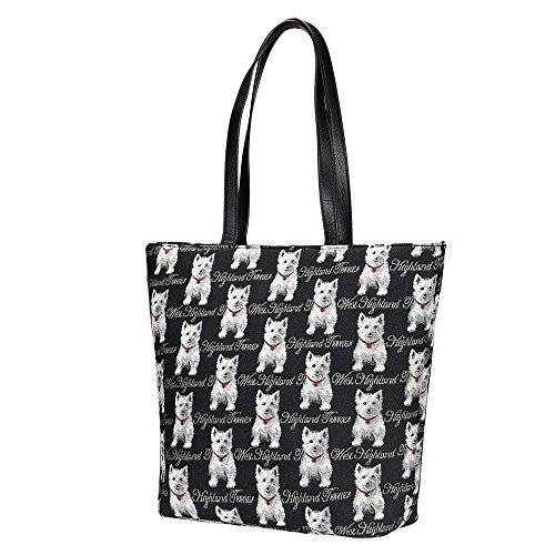 Print Large Shopper Handbag - Black & White Westie Dog Print Women's Tapestry Shoulder Tote Handbag, Travel Handbags for Shopper, Daily Purse Tote Bag by Signare (SHOU-WES)