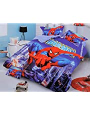 White Crafts Kid's Spiderman bedsheet 90100 Queen Size bedsheet with 2 Pillow Covers for Double Bed