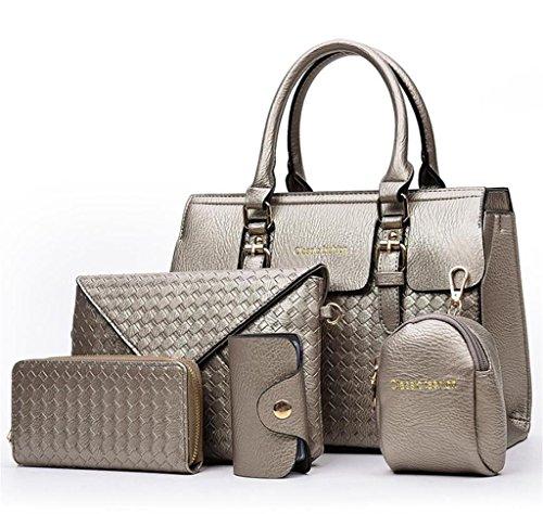 NVBAO Borsa della borsa della spalla della borsa della signora borsa del messaggero del sacchetto di acquisto semplice multifunzionale di lavoro a cinque pezzi Cinque colori grey