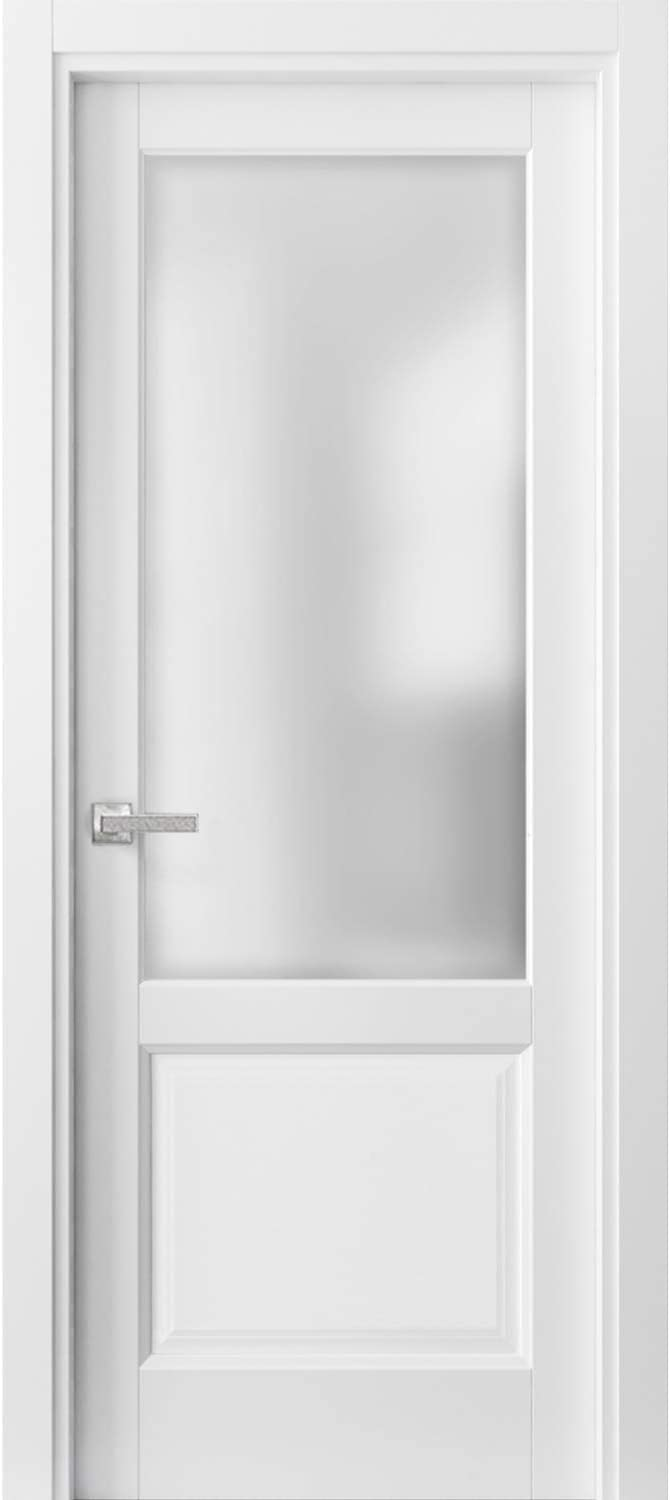 Lucia 22 Matte White with Frosted Opaque Glass Pre-Hung Panel Frame Trims French Double Panel Lite Doors 36 x 84 with Hardware Bathroom Bedroom Interior Sturdy Door