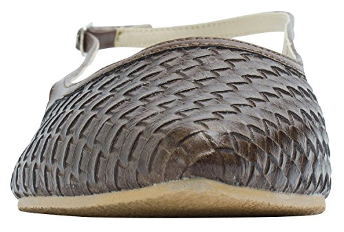 Womens Holic Slingback Sweet Brown Woven Emboss Flat Dark Shoes SqwwZHF5xd