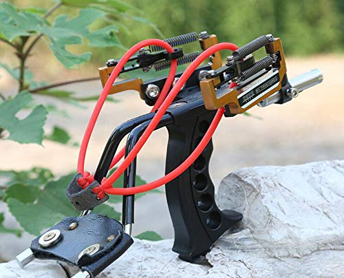 HBG Powerful Professional Hunting Catapult Laser Slingshot, Outdoor High Velocity Catapult Sling Shot with 2 Pcs Replace Rubber Bands, 100Pcs Stainless Slingshots Ammo