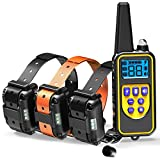Veckle Shock Collar for 3 Dogs, Remote Dog Collar for Training Sprayproof Beep Vibration Shock Training Collar with LED for Medium and Large Dogs, Rechargeable Waterproof and Rainproof 2600ft