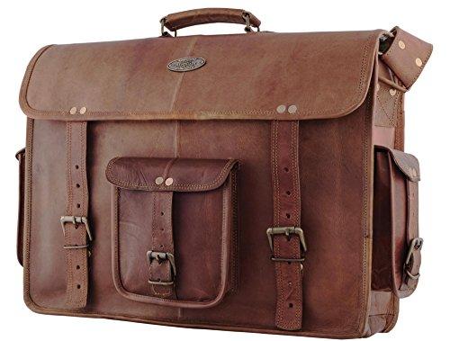 18 Inch Leather Messenger Bag  Vintage Handmade for Briefcase  Laptop  Best Computer Satchel School by RK