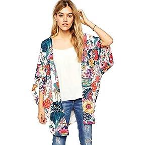 Women Cardigan,kaifongfu Casual Floral Print Kimono Loose Cardigan Chiffon Tops Blouse
