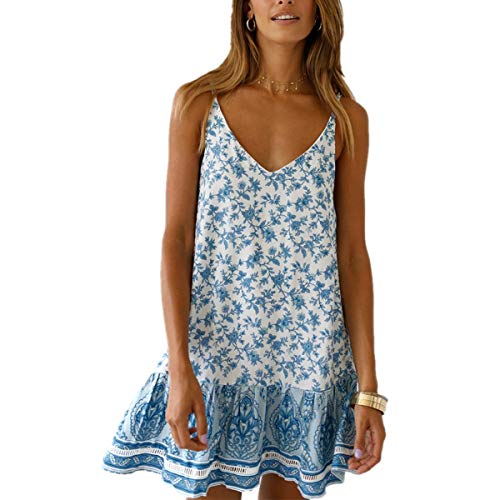 (OEUVRE Women Floral Summer Bohemian Spaghetti Strap V Neck Short Dress Boho Swing Ruffle Beach Dress Blue1 Size L)